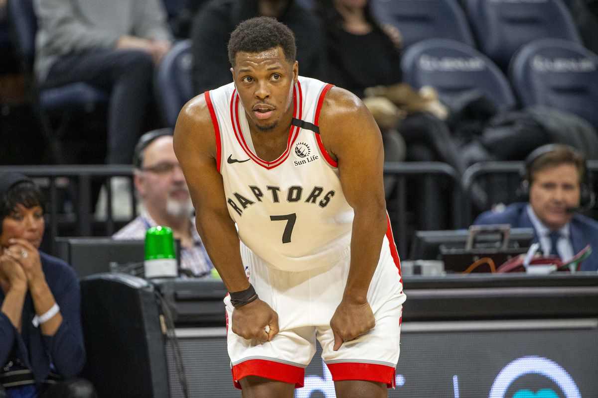 Toronto Raptors guard Kyle Lowry looks on during the second half against the Minnesota Timberwolves at Target Center.