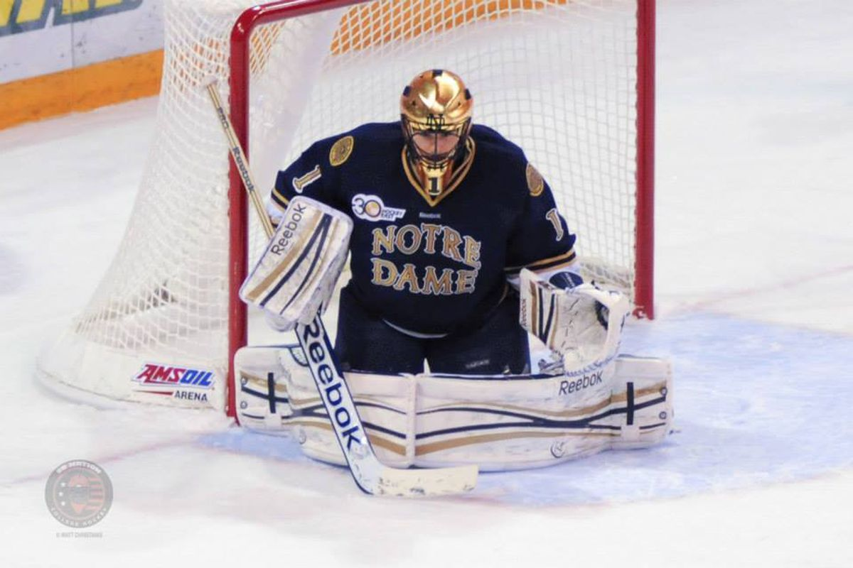 Notre Dame senior goaltender Steven Summerhays will lead his team into Tsongas Arena to face UMass-Lowell this weekend.