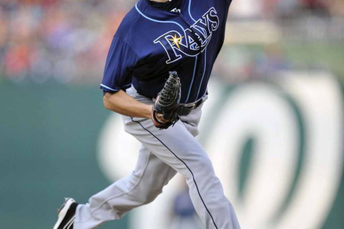 June 21, 2012; Washington, D.C., USA; Tampa Bay Rays starting pitcher Matt Moore (55) pitches in the first inning against the Washington Nationals at Nationals Park. The Nationals defeated the Rays 5 - 2. Mandatory Credit: Joy R. Absalon-US PRESSWIRE
