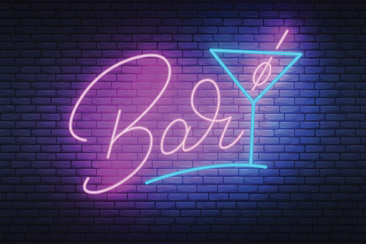 """An illustration of a neon pick and blue sign that says """"bar."""""""