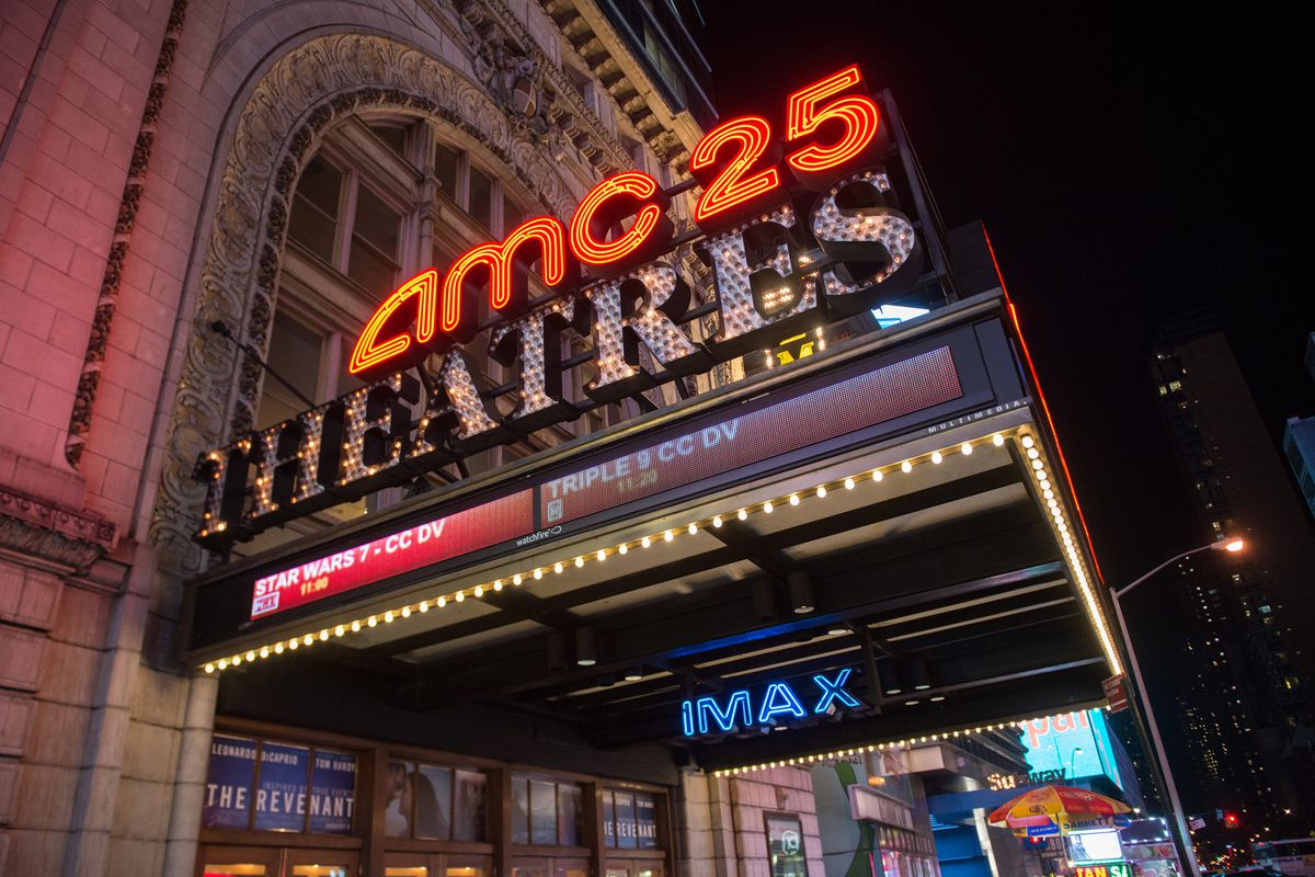 A photo of the AMC Empire 25 theater marquee in New York City