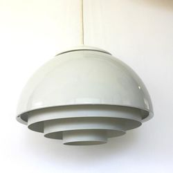 """White mid-century metal pendant lamp, $185 from <a href=""""http://www.athomemodern.com/"""">At Home Modern</a>"""