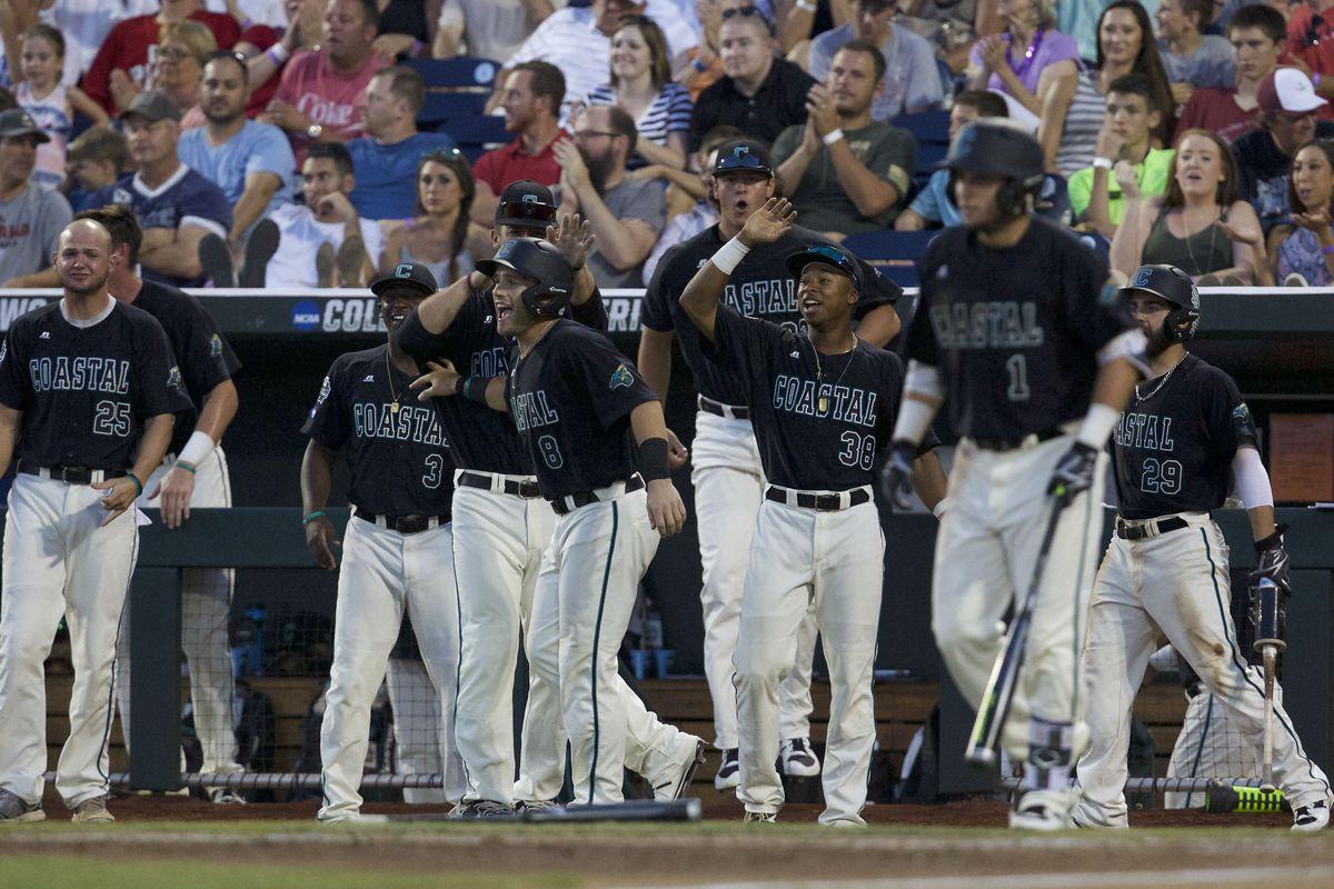 Coastal Carolina celebrating some runs scored Friday.