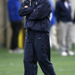 Coach Bronco Mendenhall watches BYU spring football practice at BYU in Provo on Friday, March 22, 2013.