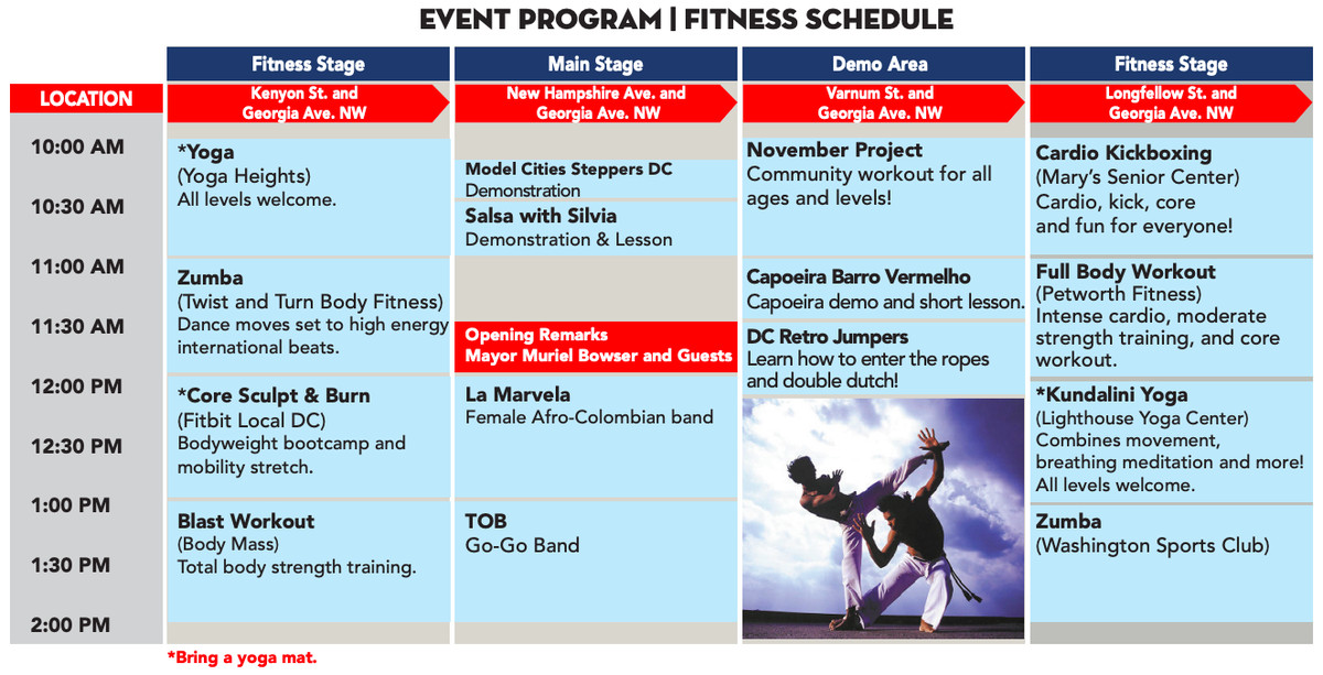 A schedule of activities for an open street event.