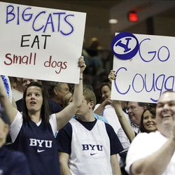 Brigham Young Cougars fans cheer in the West Coast Conference finals in Las Vegas  Monday, March 5, 2012.  BYU won the title and will advance to the NCAA tournament.