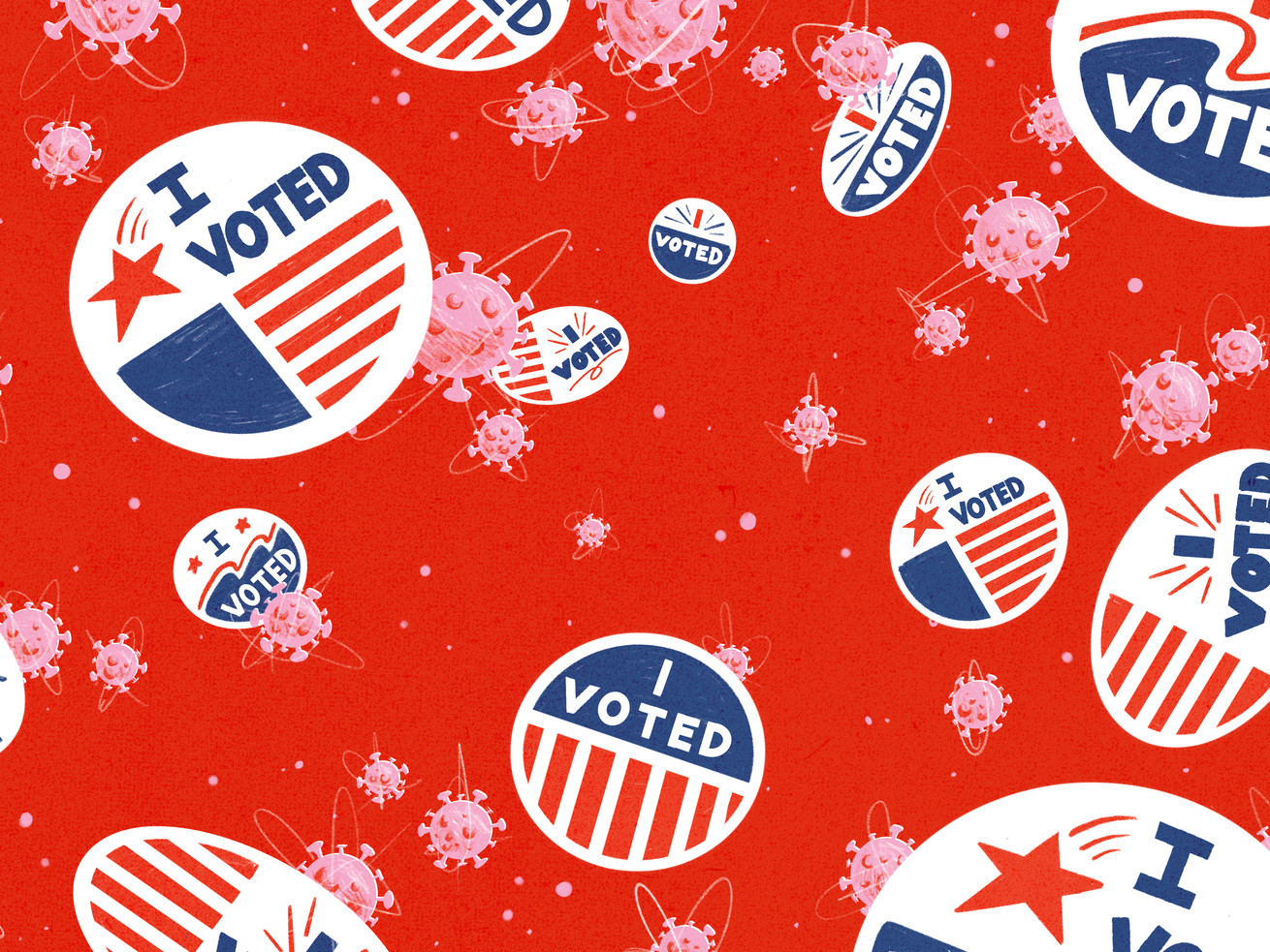 """A collage of floating stickers that read """"I voted"""" and Covid-19 particles."""