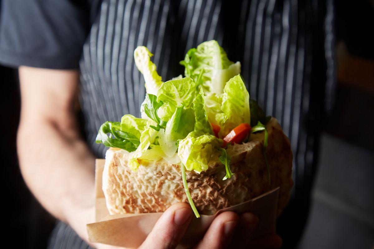 Miznon Caesar salad pita