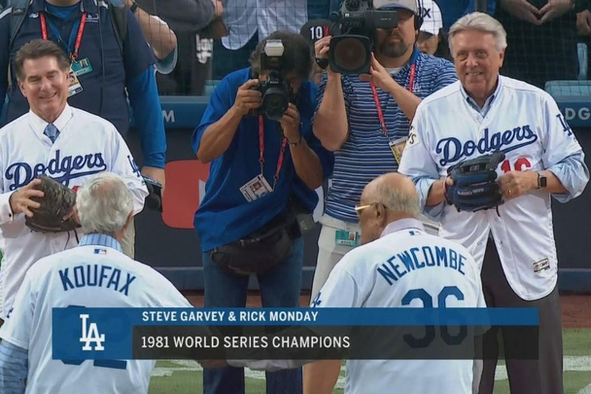 World Series Game 7 Sandy Koufax Don Newcombe Rick Monday Steve