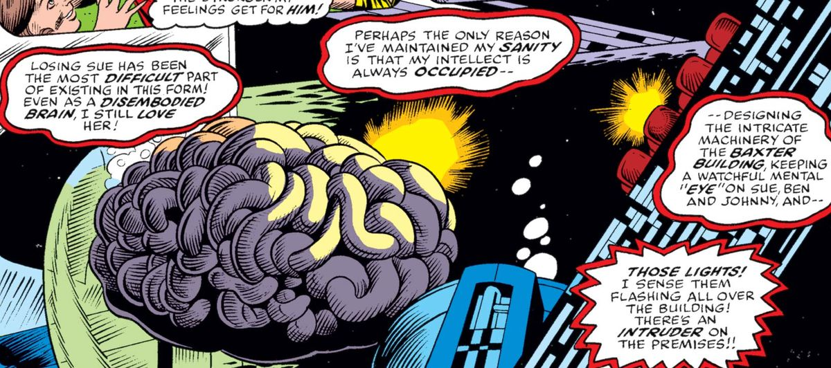 Reed Richards in the form of a disembodied brain in What If...? #6, Marvel Comics (1977).