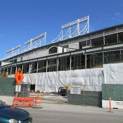 West side of the ballpark, covered in tarps -