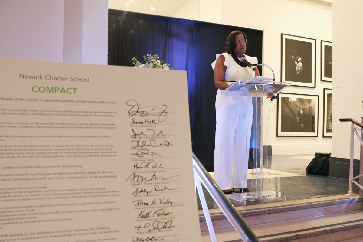 Michele Mason, executive director of the the Newark Charter School Fund, at a farewell event for the group Tuesday. Each year, the group asks local charter schools to sign a compact affirming their commitment to shared principles.
