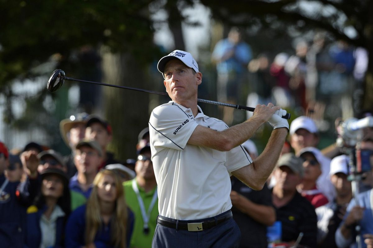 June 16, 2012; San Francisco, CA, USA; Jim Furyk tees off from the 16th hole during the third round of the 112th U.S. Open golf tournament at The Olympic Club. Mandatory Credit: Ron Chenoy-US PRESSWIRE