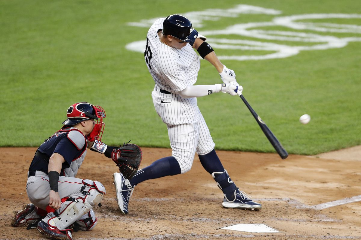 Aaron Judge #99 of the New York Yankees connects on his third inning two run home run against the Boston Red Sox at Yankee Stadium on July 31, 2020 in New York City. The Yankees defeated the Red Sox 5-1.