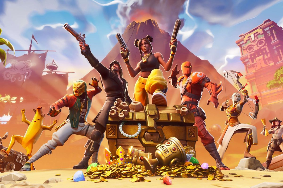 a group of Fortnite characters standing around a treasure chest, with gold coins and other treasure in front of it and an erupting volcano in the background
