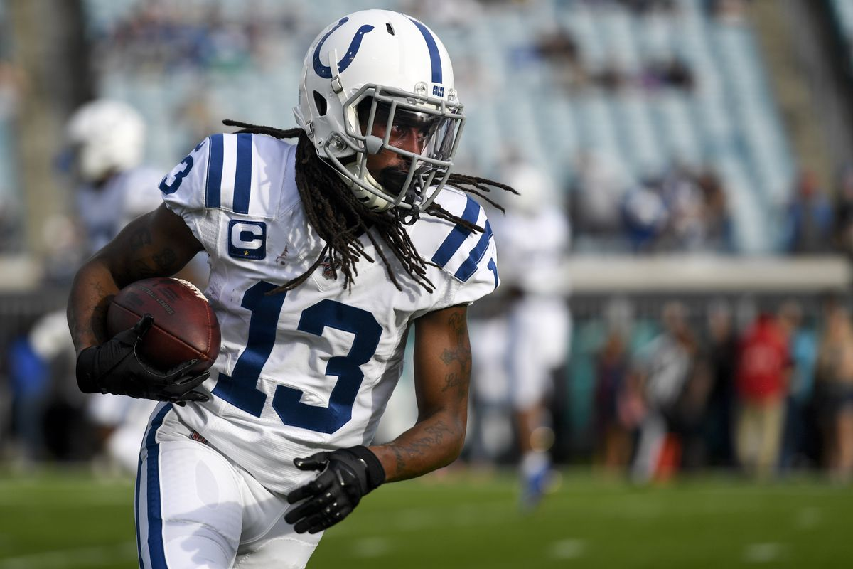 Indianapolis Colts wide receiver T.Y. Hilton warms up prior to the game between the Jacksonville Jaguars and the Indianapolis Colts at TIAA Bank Field.