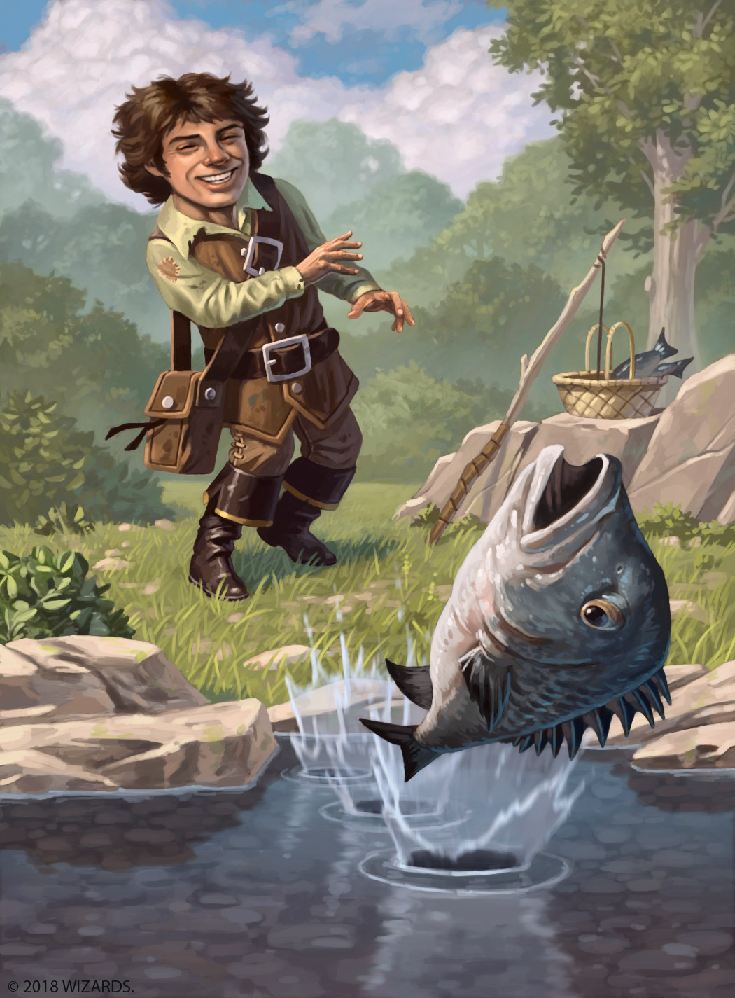A grinning halfling tosses a fish at a steep angle, bouncing it across the surface of a pond.