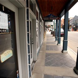 Main Street in Park City is bereft of traffic on Monday, April 27, 2020. Some businesses are open but many remain closed due to the spread of COVID-19.