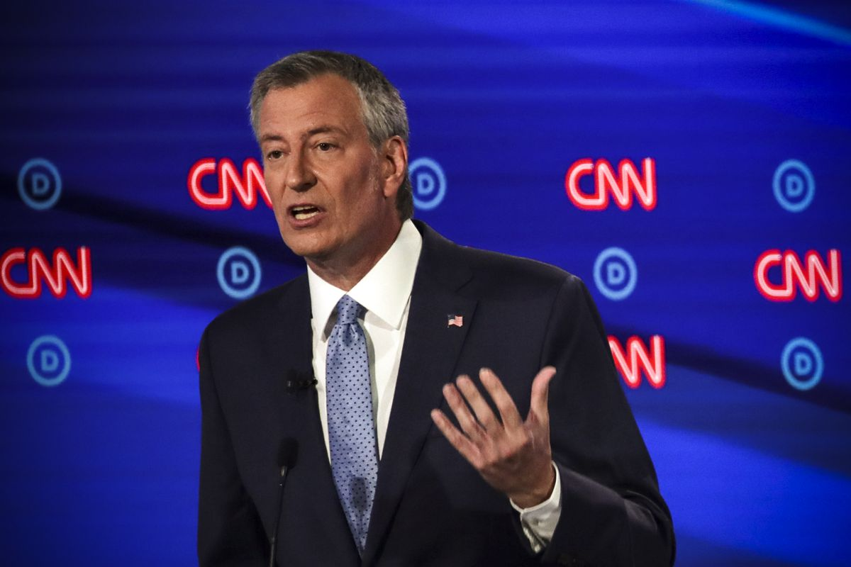 Democratic presidential candidate New York City Mayor Bill De Blasio speaks during the Democratic Presidential Debate on July 31, 2019.