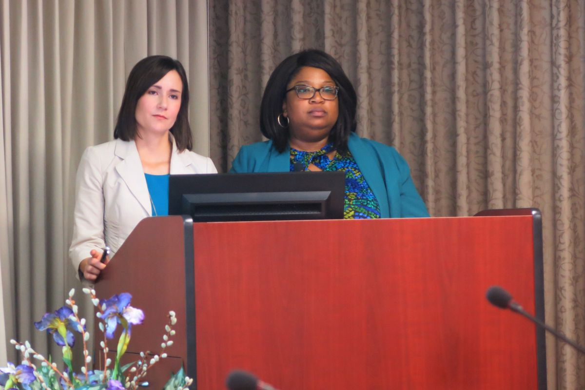 From left: Executive director Sara Heyburn and attorney Elizabeth Taylor present to the State Board of Education last May.