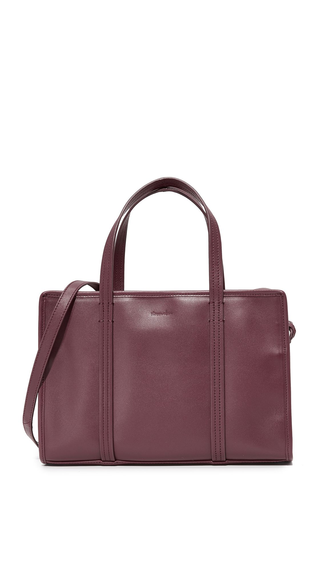 A burgundy leather satchel bag