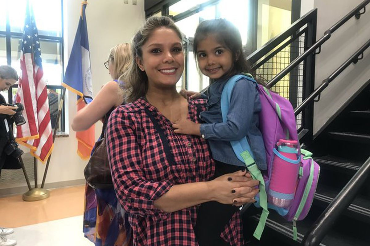 Thursday was 3-year-old Arya Chand's first day of school ever. Here she is with her mom, Davina.
