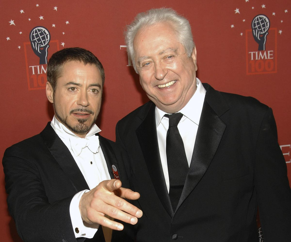 Actor Robert Downey Jr. (left) and his father Robert Downey Sr., arrive at Time's 100 Most Influential People in the World Gala in New York on May 8, 2008.