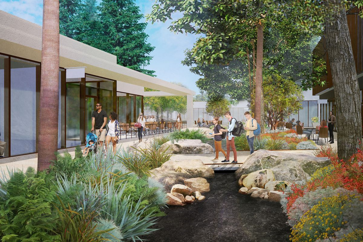 A rendering for an outdoor space with lots of greenery and white walkways.