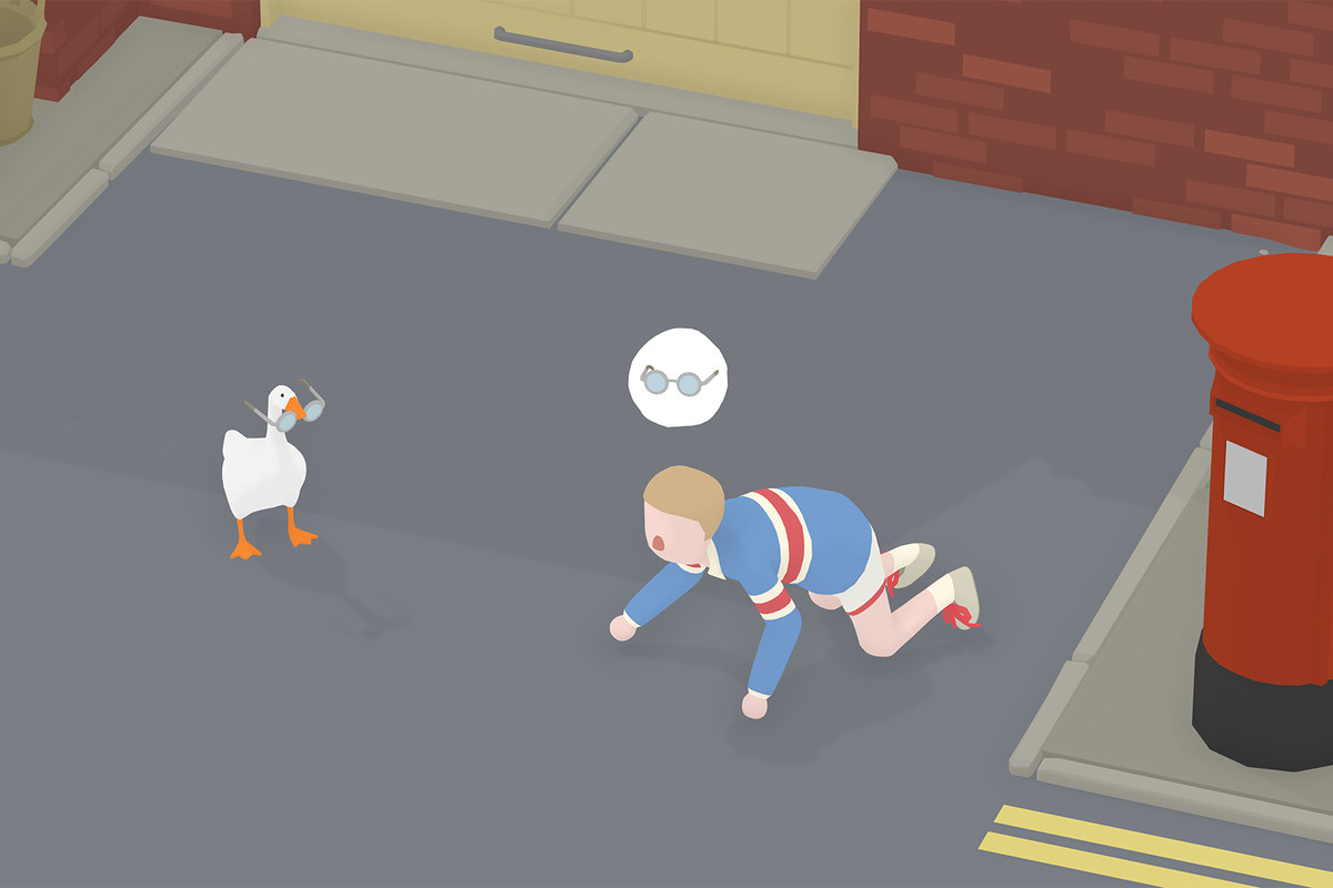 In Untitled Goose Game, a goose has stolen a boy's glasses because the goose is a bully. The child blindly searches for his stolen glasses, unaware the goose is smugly carrying them feet away.