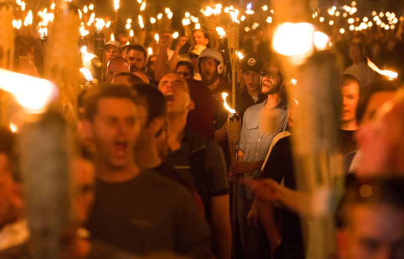 Racists gather at Charlottesville, Virginia, in protest.