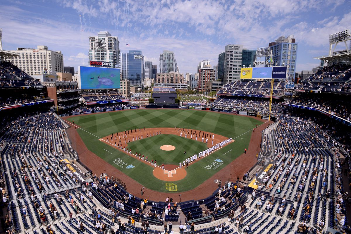 A general overview of Petco Park during the playing of the national anthem before the game between the Arizona Diamondbacks and San Diego Padres at Petco Park.