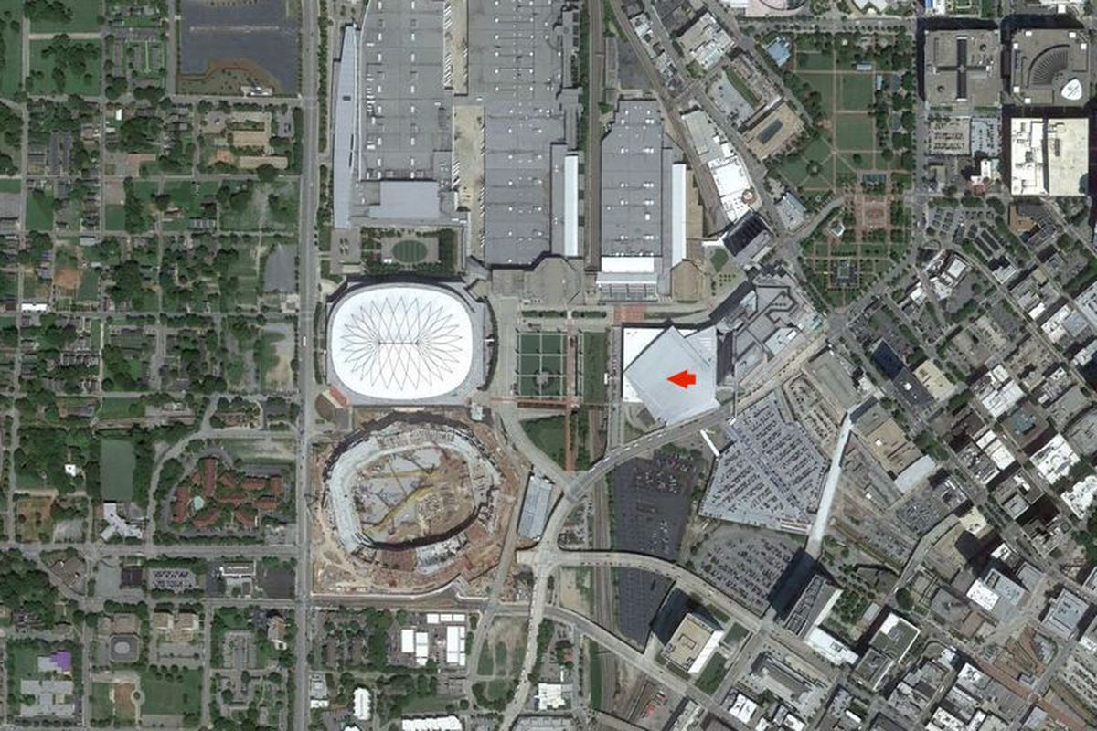 Philips Arena (marked with arrowed) surrounded by parking and the sunken gash that is The Gulch.