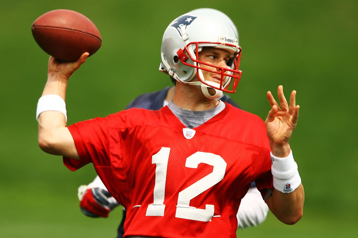 Tom Brady of the New England Patriots throws a pass during practice at the New England Patriots Mini Camp June 14, 2006 at Gillette Stadium in Foxboro, Massachusetts.
