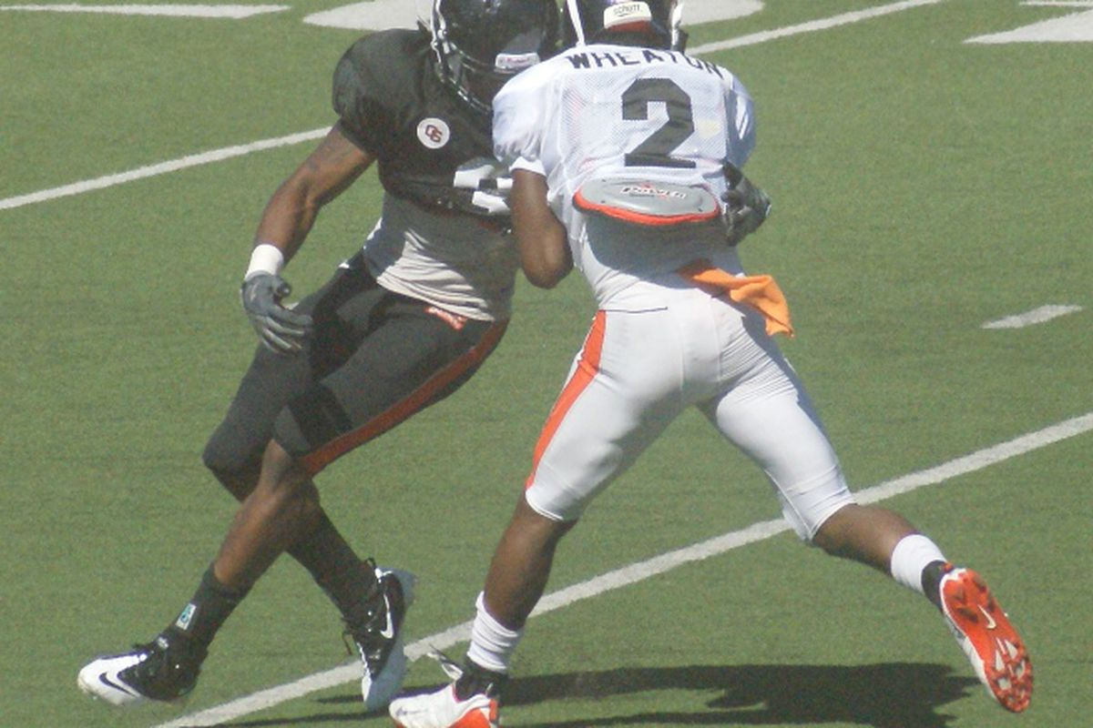 """Safety Anthony Watkins (3) and WR Marcus Wheaton (2) are both """"1s"""" on the Oregon St. Depth Chart, which has some updates. <em>(Photo by Andy Wooldridge)</em>"""