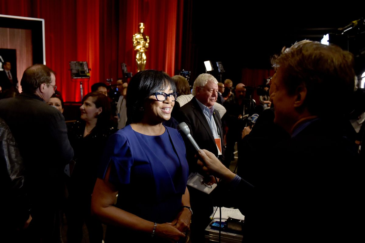 Cheryl Boone Isaacs, president of the Academy of Motion Picture Arts and Sciences, speaks to reporters on Oscar nomination morning.