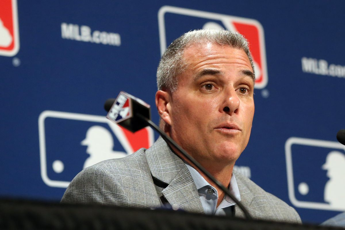 Kansas City Royals general manager Dayton Moore speaks with the media after announcing a trade of relief pitcher Wade Davis for outfielder Jorge Soler (both not pictured) on day three of the 2016 Baseball Winter Meetings at Gaylord National Resort &am
