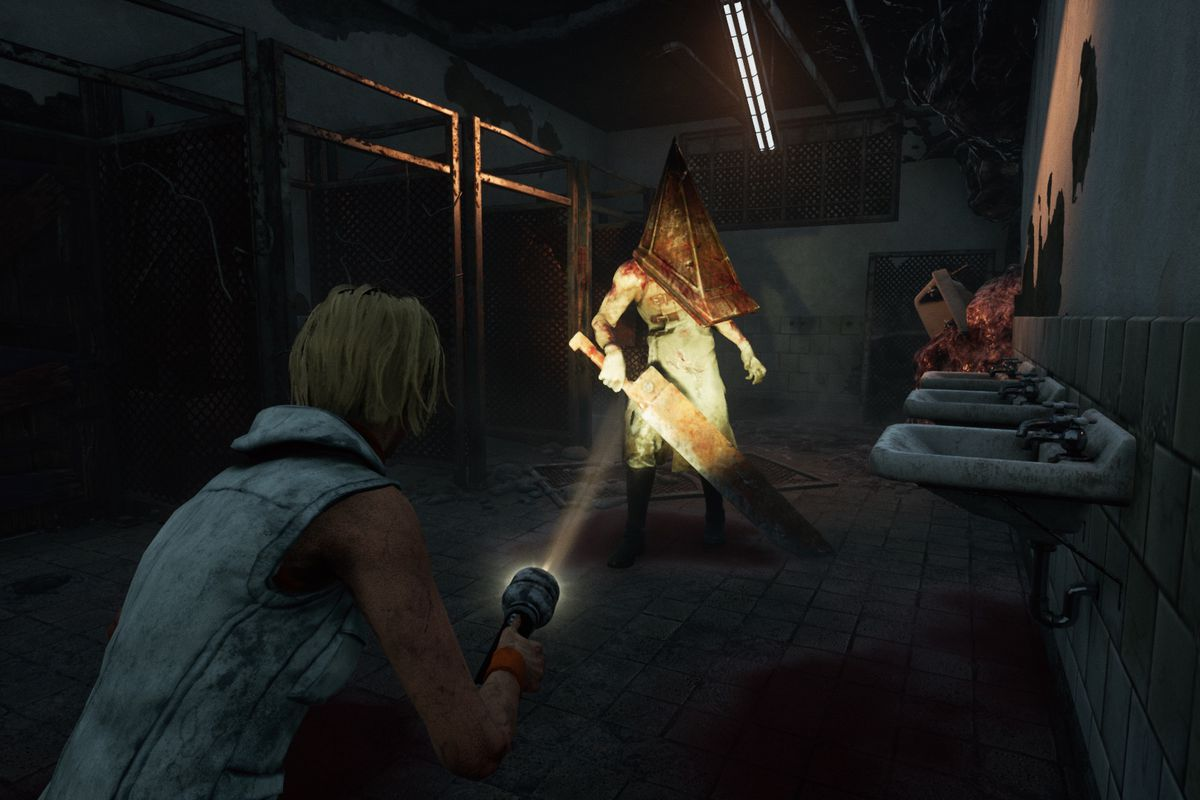 Cheryl Mason shines a flashlight on Pyramid Head in a screenshot from Dead by Daylight