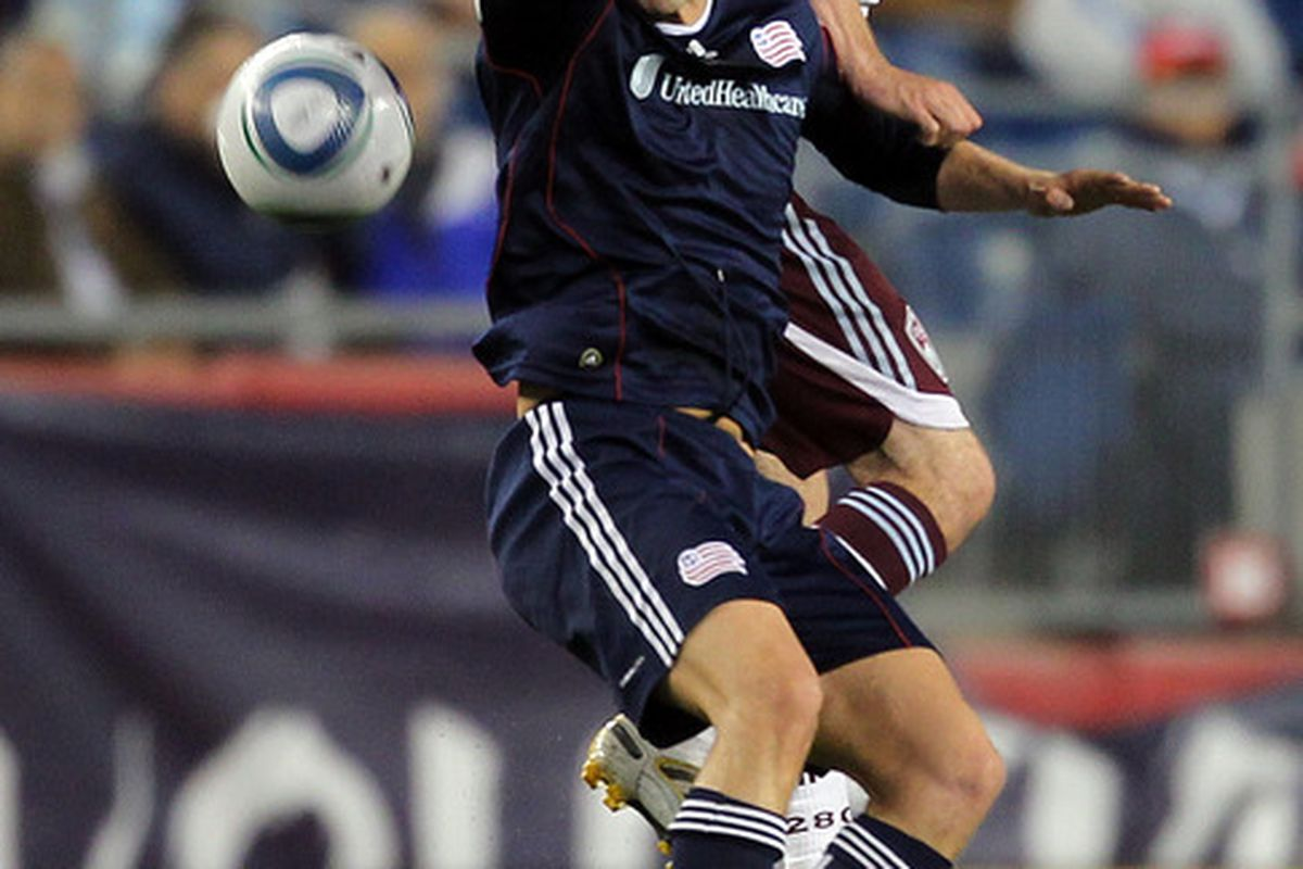FOXBORO, MA - MAY 7:  Rajko Lekic #10 of New England Revolution reacts after he was elbowed in the face by Drew Moor #3 of the Colorado Rapids at Gillette Stadium on May 7, 2011 in Foxboro, Massachusetts. (Photo by Jim Rogash/Getty Images)