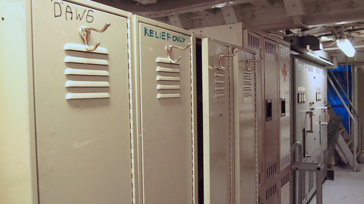 Lockers in an engine room of a ship