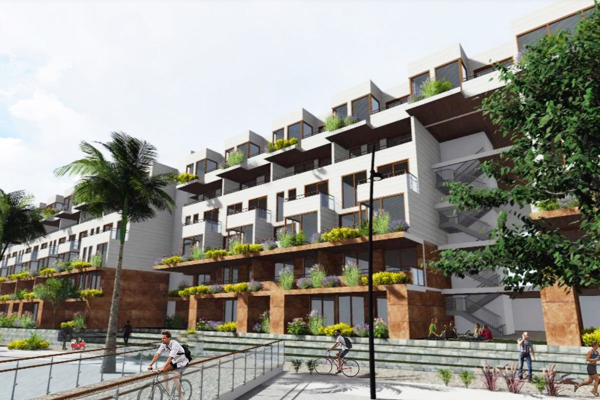 A rendering of a building with six stories, many of which have visible balconies and terraces.