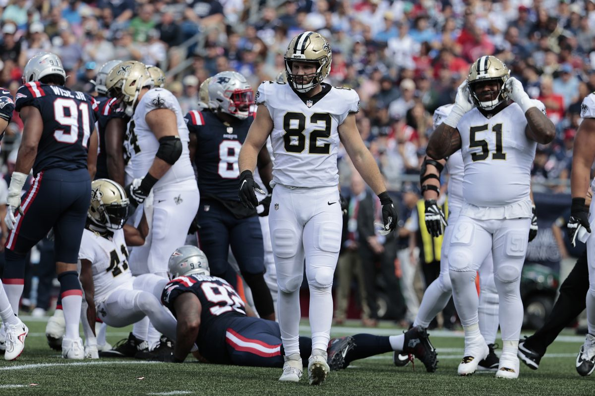 New Orleans Saints tight end Adam Trautman (82) during a game between the New England Patriots and the New Orleans Saints on September 26, 2021 at Gillette Stadium in Foxborough, Massachusetts.