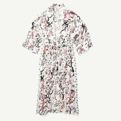 White silk robe with pink and purple floral detailing.