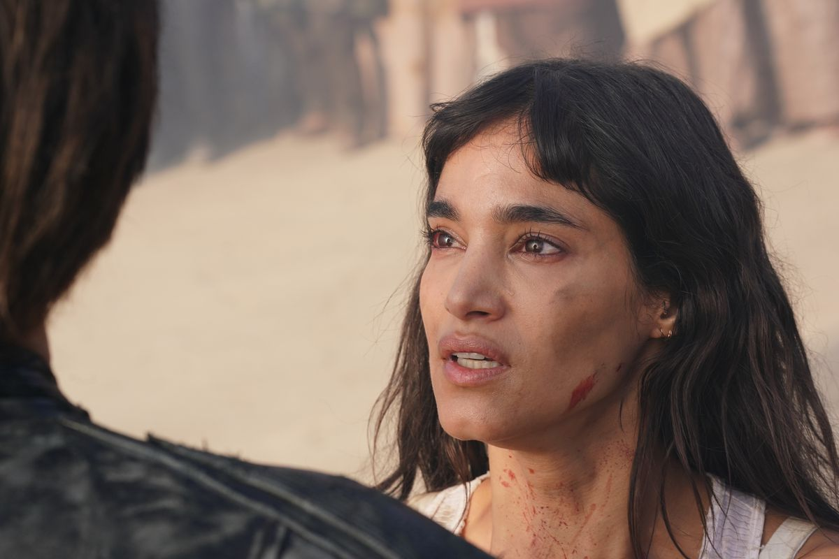 Sofia Boutella aghast in Prisoners of the Ghostland