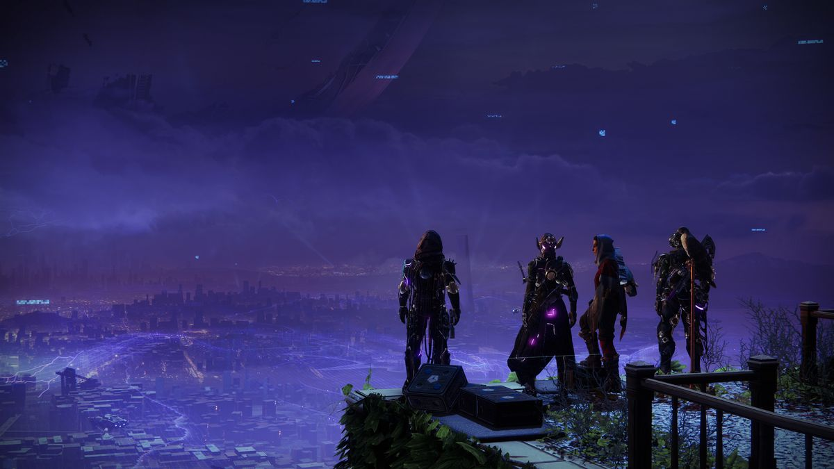 Destiny 2 characters stand on the Tower