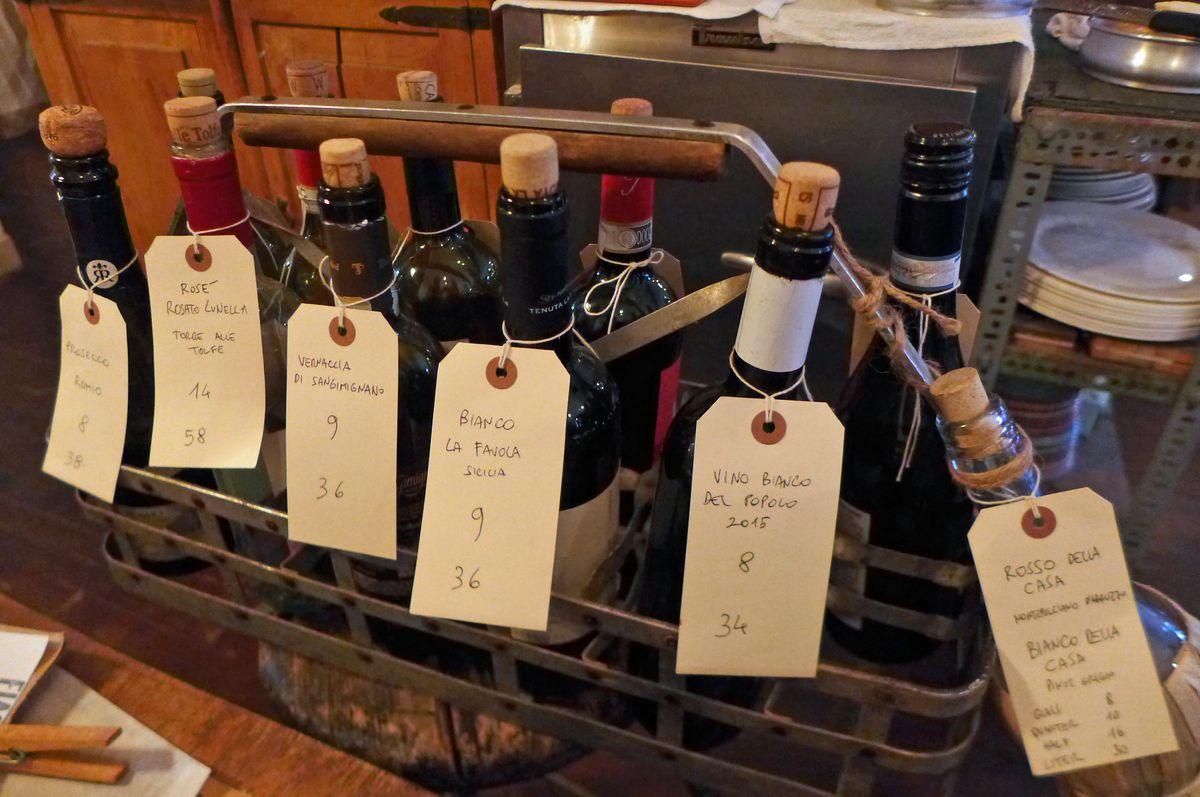 The wine rack at Fiaschetteria Pistoia