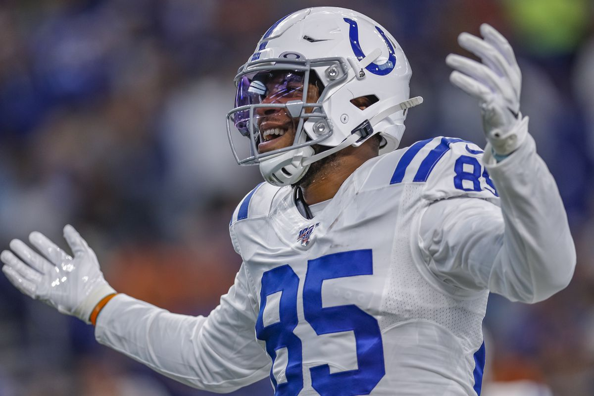 Indianapolis Colts tight end Eric Ebron celebrates during the preseason game against the Cleveland Browns at Lucas Oil Stadium on August 17, 2019 in Indianapolis, Indiana.