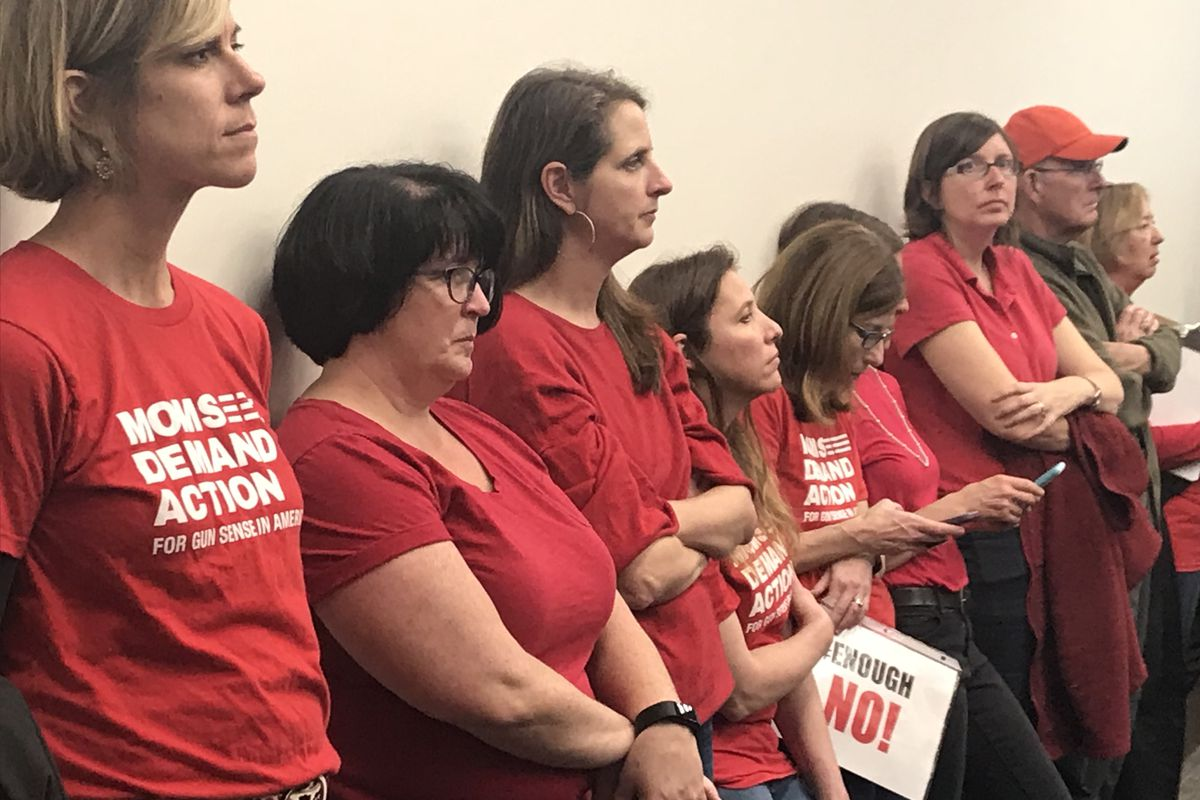 A group of mothers listen Wednesday as Tennessee lawmakers debate a bill that would open the door to teachers carrying concealed handguns in schools. The activists are part of the advocacy group Moms Demand Action for Gun Sense in America.