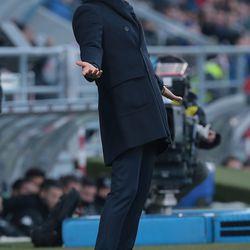 FC Internazionale Milano coach Luciano Spalletti reacts during the serie A match between US Sassuolo and FC Internazionale at Mapei Stadium - Citta' del Tricolore on December 23, 2017 in Reggio nell'Emilia, Italy.