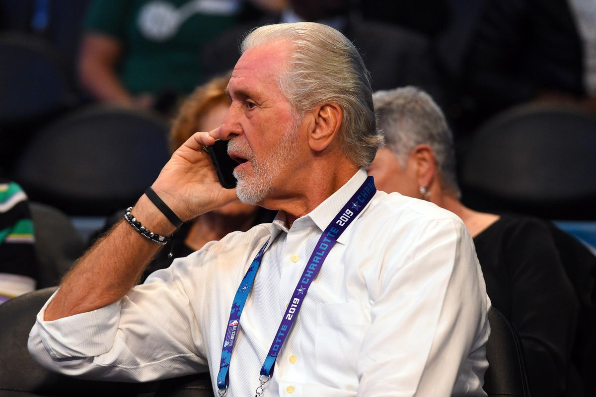 Miami Heat general manager Pat Riley during the 2019 NBA All-Star Game at Spectrum Center.