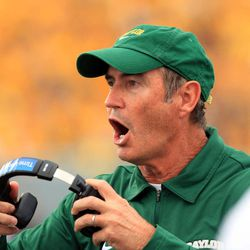 Baylor coach Art Briles yells during their NCAA college football game against West Virginia in Morgantown, W.Va., Saturday, Sept. 29, 2012. No. 9 West Virginia beat No. 25 Baylor  70-63.